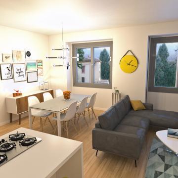 Rendering appartamento al piano terra_Soggiorno