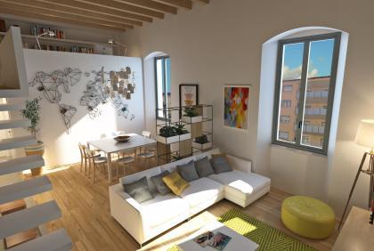 Rendering appartamento al rustico